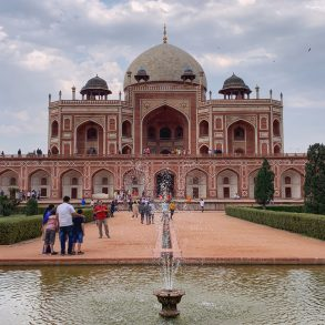 Humayun's Tomb in New Delhi, India with fountain in the foreground.