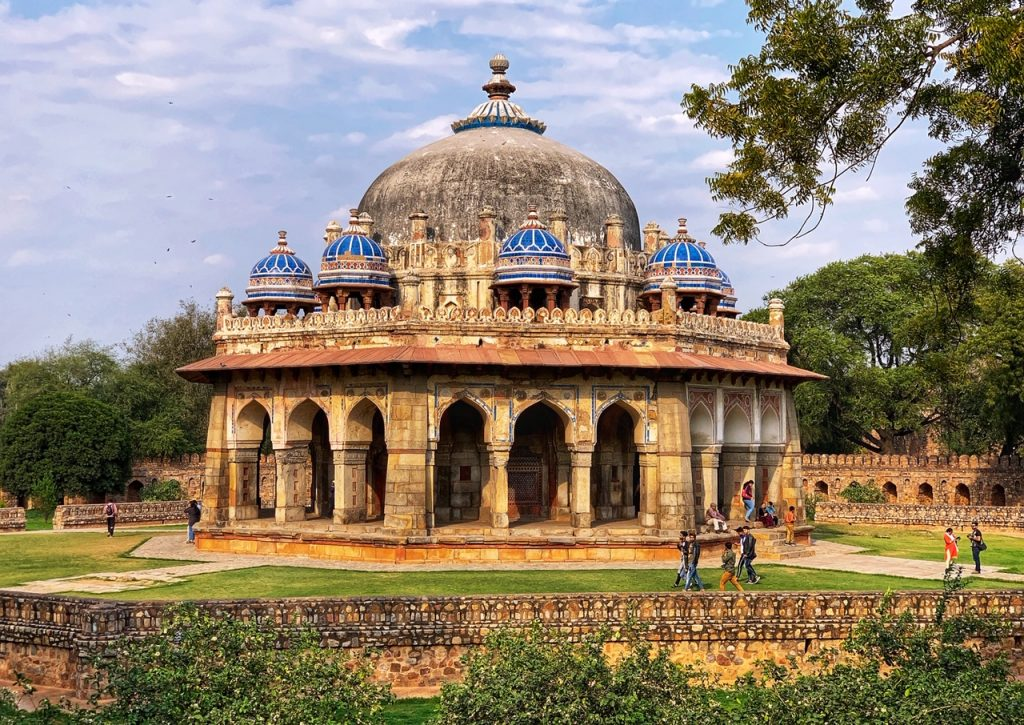 Isa Khan's tomb with blue marble domes. The tomb is part of the Humayun's Tomb complex in New Delhi, India.