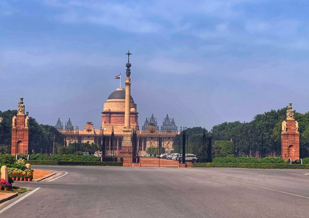 A distant view of Rashtrapati Bhavan, the presidential palace in New Delhi, India