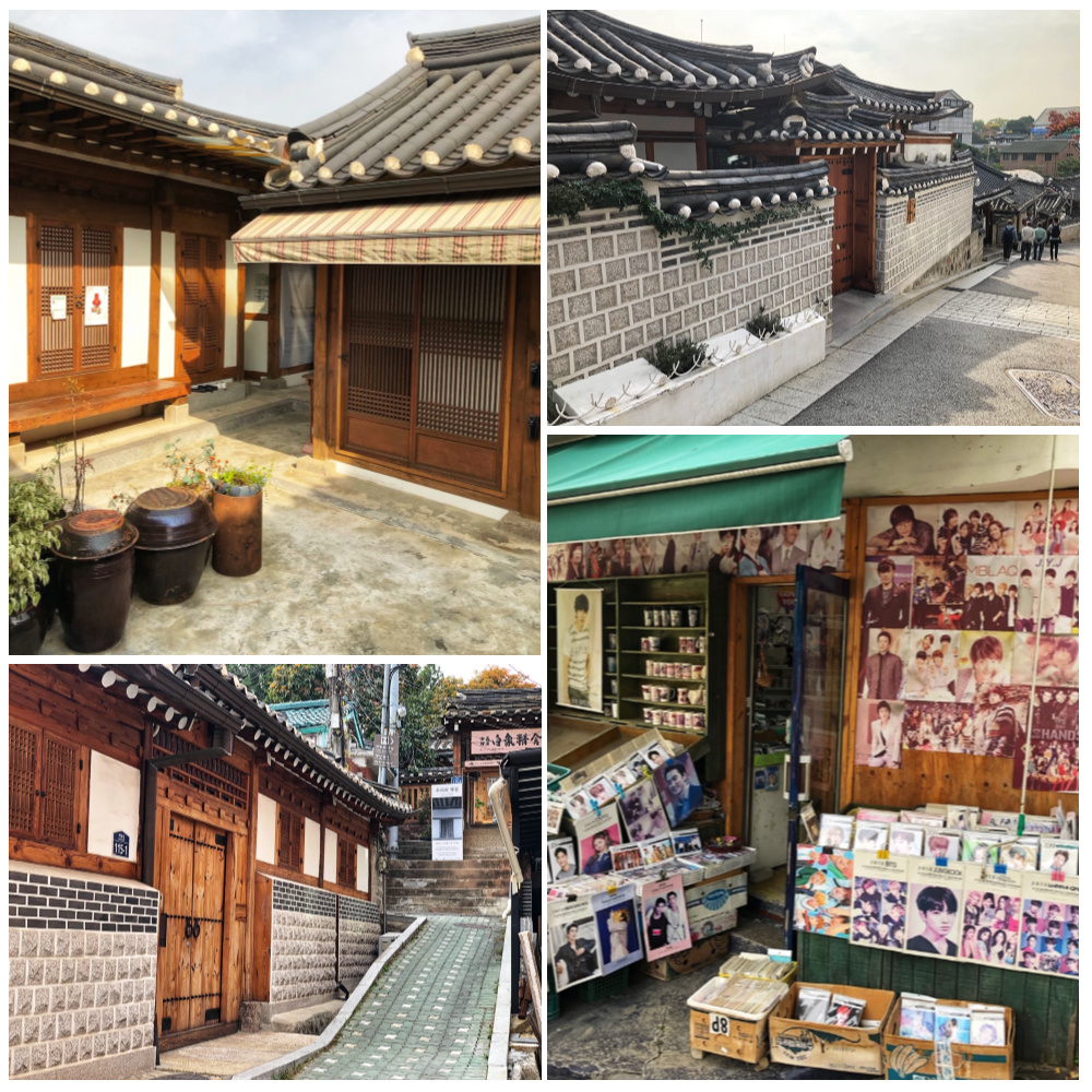Collage of scenes from the Bukchon Hanok Village - a top place to visit with kids in Seoul, South Korea