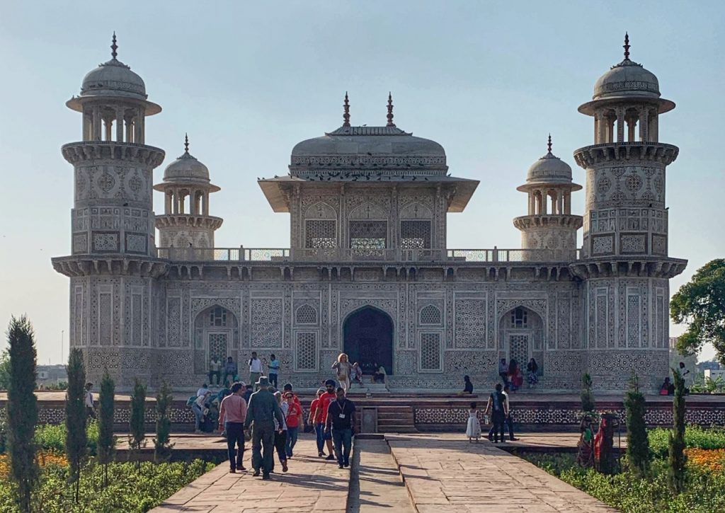 """Tomb of Itimad-ud-Daulah or """"Baby Taj"""" in Agra, India. The tomb is a recommended stop on a one day visit to Agra."""