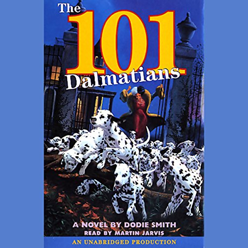 """Audibook cover art for """"The 101 Dalmatians"""" by Dodie Smith a best audiobook for family road trips"""