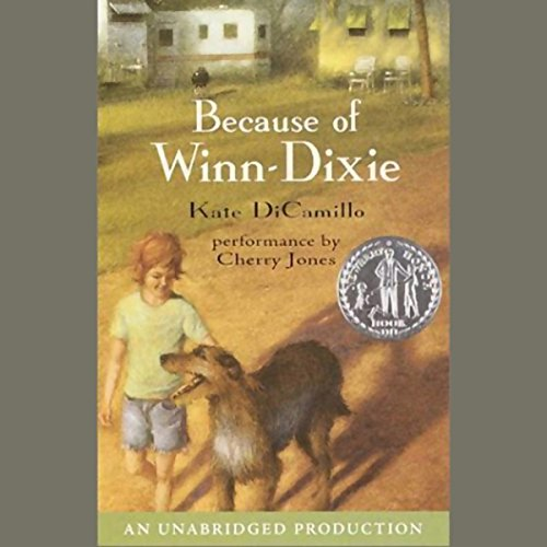 """Audibook cover art for """"Because of Winn-Dixie"""" by Kate DiCamillo a best audiobook for family road trips"""