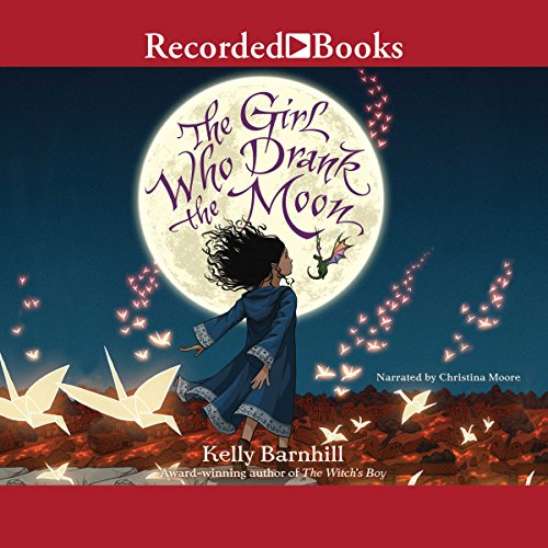 """Audibook cover art for """"The Girl Who Drank the Moon"""" by Kelly Barnhill a best audiobook for family road trips"""
