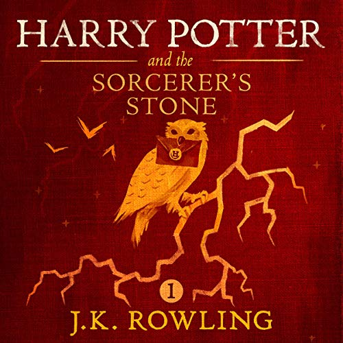 """Audiobook cover art for """"Harry Potter and the Sorcerer's Stone"""" by J.K. Rowling a best audiobook for family road trips"""