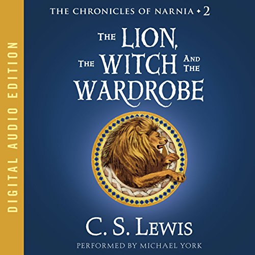 """Audibook cover art for """"The Lion, The Witch, and the Wardrobe"""" by C.S. Lewis a best audiobook for family road trips"""