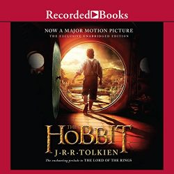 """Audiobook cover art for """"The Hobbit"""" audiobook by J.R.R. Tolkein a best audiobook for family road trips"""