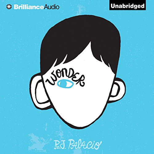 """Audiobook cover art for """"Wonder"""" by R.J. Palacio a best audiobook for family road trips"""