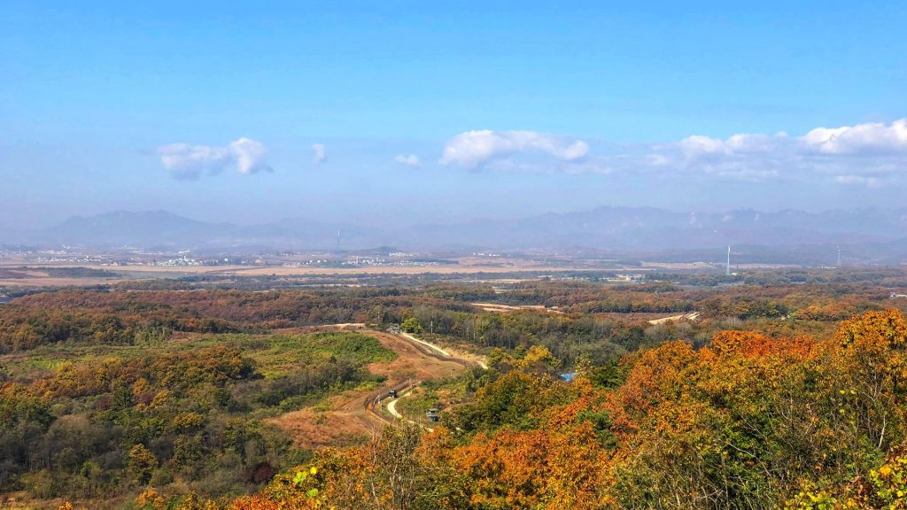 View into North Korea from Dora Observatory, a common stop on a DMZ tour with kids