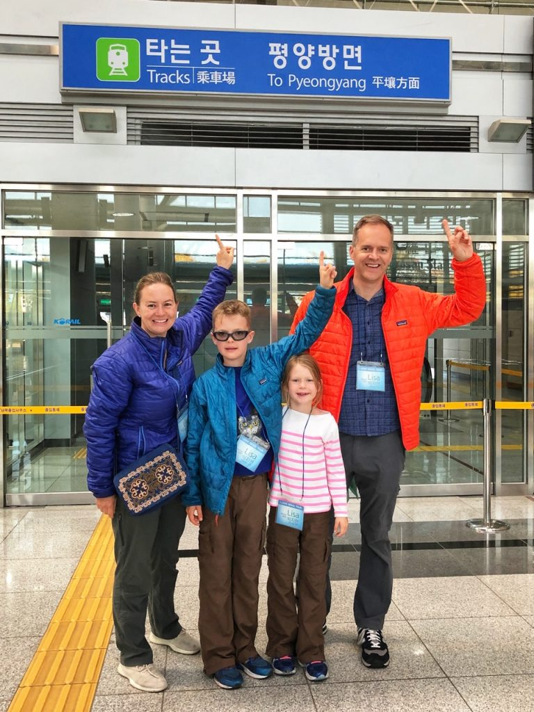 A family with two children visits Dorasan Station on a DMZ tour