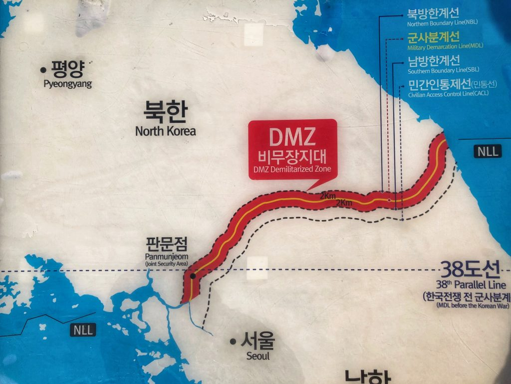 Map of the Koream DMZ, a great tour with kids