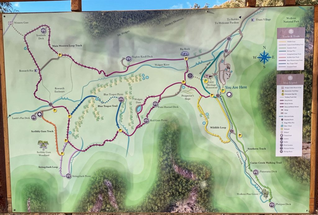 Trail map of Emirates One&Only Wolgan Valley resort in the Blue Mountains, Australia.