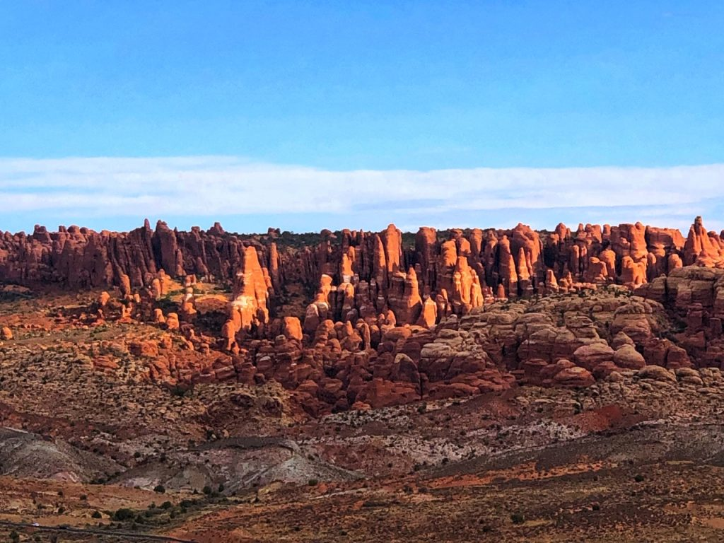 Fiery Furnace in Arches National Park seen from a distance.