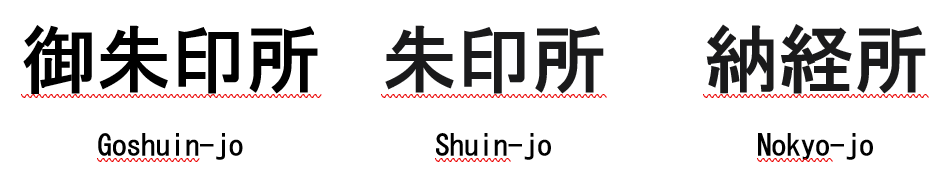 Japanese Kanji text found on signs at Buddhist temples indicating where a goshuin can be received. From left to right the three images read: goshuin-jo, shuin-jo, nokyo-jo.
