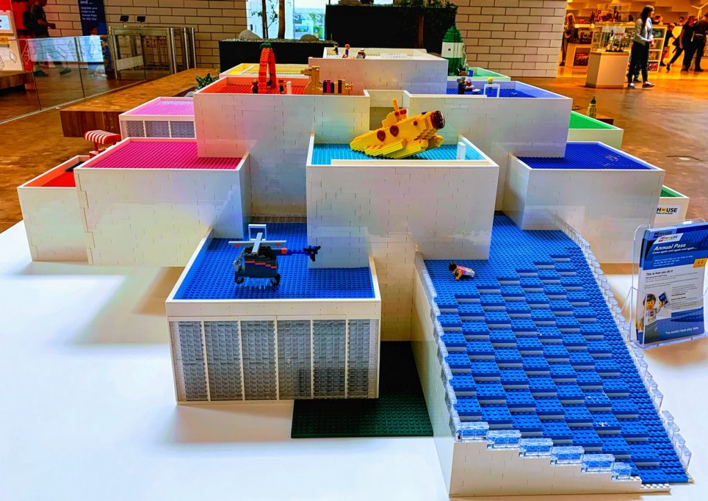 A map of LEGO House in Denmark built from LEGO bricks