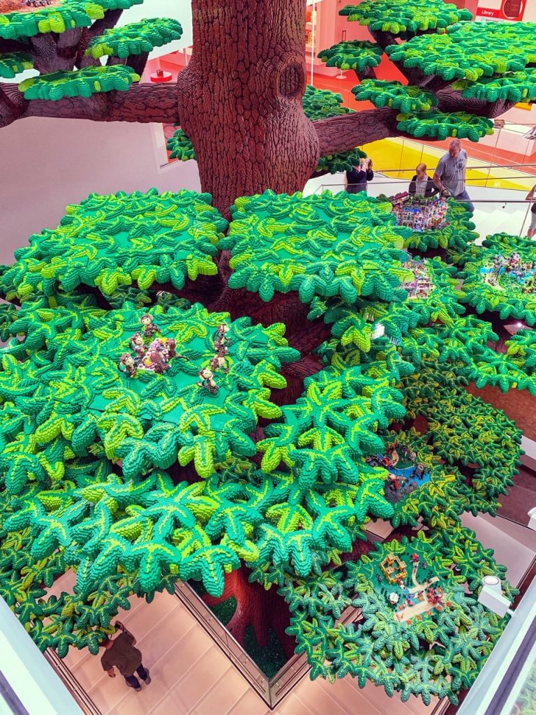 Looking down from halfway up the Tree of Creativity at LEGO House in Denmark