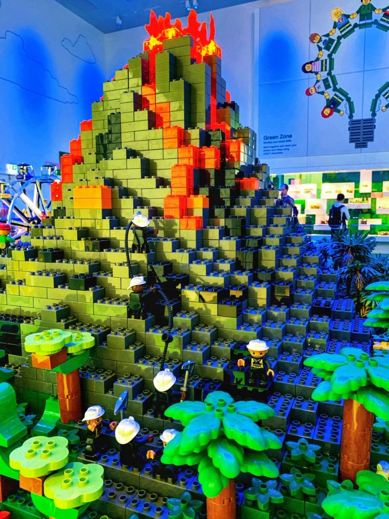 DUPLO firemand trying to extinguish a volcano at LEGO House in Denmark