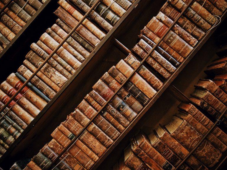 Vintage books on a bookshelf